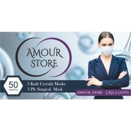 3 Katlı Telli 50 Adet Cerrahi Maske Pembe Full Ulturosonik AMOUR STORE