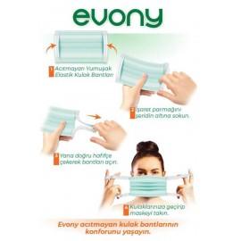 Evony 3 Katlı Yumuşak Elastik Kulaklıklı Cerrahi Maske 50'li Paket
