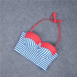 AMOUR STORE  Mavi Cizgili Şık Bikini Takım