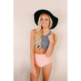 AMOUR STORE  Pembe Üstü Cizgili Yüksek Bel Tankini Bikini Takım