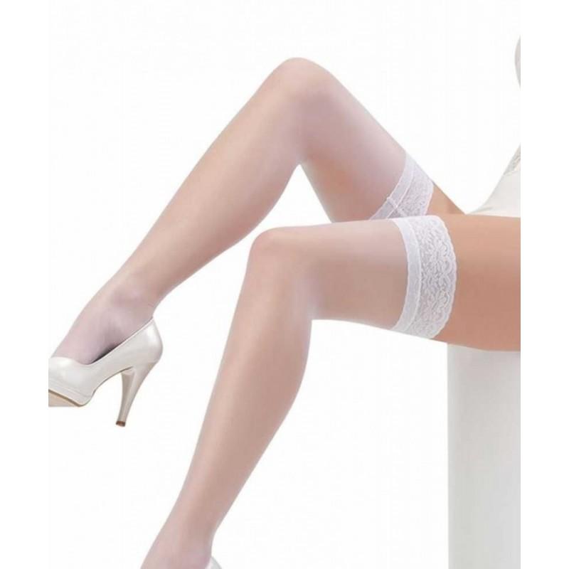 AMOUR STORE Beyaz Düz Silikonlu Dantelli Jartiyer Çorap