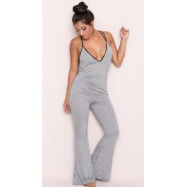 AMOUR STORE Gri Dantel İşlemeli Askılı Eşofman Pijama Takım